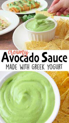 This Healthy Creamy Avocado Sauce made w/Greek yogurt, is easy Avocado Cream Sauces, Creamy Avocado Sauce, Avocado Dip, Avocado Aoli, Avacado Sauce, Creamy Avocado Dressing, Avocado Crema, Greek Yogurt Dips, Greek Yogurt Recipes