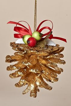 "Set of Three, 3"" Gold Sparkled Pine Cone Ornaments with Pine, Winter Berries, White Shells and Red Bow"