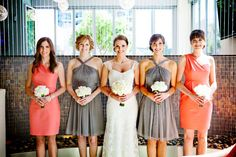 coral and gray bridesmaids dresses, love color combo not the dresses ;)