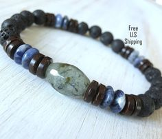 Mens Prehnite bracelet Sodalite Lava Onyx by LifeForceEnergyShop