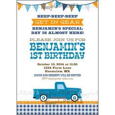 Vintage Blue Truck Birthday party invite invitation