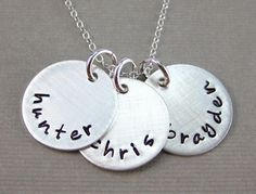 THREE NAMES Personalized necklace - Hand stamped sterling silver / Keepsake necklace. $50.00, via Etsy.