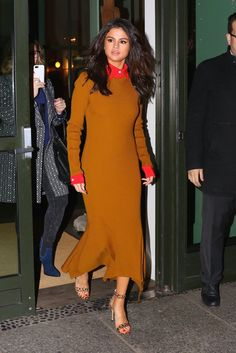 Selena Gomez Victoria Beckham Dress in New York Feb. 2017 | POPSUGAR Fashion