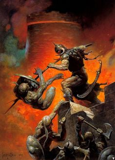 Frank Frazetta's 'Death Dealer V' | Traditional oil (?) painting | Gath of Baal | Cover for 'Plague of Knives' (Frank Frazetta's Death Dealer, Book 4) – June 15, 1990 by Frank Frazetta (Author), James R. Silke (Author) http://www.amazon.com/Plague-Knives-Frank-Frazettas-Dealer/dp/0812503325