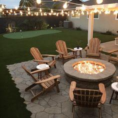 Backyard Seating, Backyard Patio Designs, Fire Pit Backyard, Cool Backyard Ideas, Deck Patio, Fire Pit Seating, Fire Pit Chairs, Backyard With Fire Pit, Back Yard Fire Pit