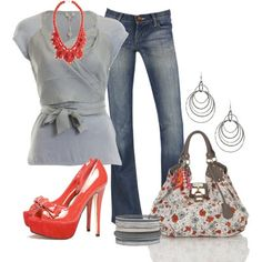 LOLO Moda: #flowery #bag #print #top #gray #jeans #red #high #heels #stylish #2014 #summer #spring, http://www.lolomoda.com