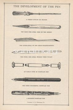 1937 Illustration of the Development of the Waterman Fountain Pen. $9.99, via Etsy.