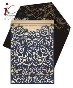 Custom Lasercut Luxury Wedding invitation Pocket   by PaperWeLove designed by InviteCouture