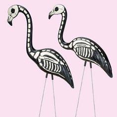 Plastic lawn skeleton flamingo