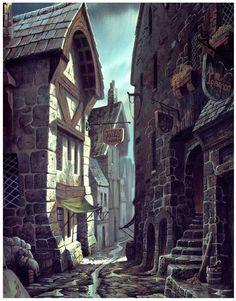 art conceitual Gasse in Tharan Fantasy Town, Fantasy Village, Medieval Fantasy, Fantasy World, Fantasy House, Medieval Town, Fantasy Artwork, Fantasy Concept Art, Disney Concept Art