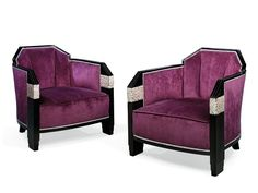 Pair of Art Deco armchairs in the style of Paul Follot, 1930s (ebonised wood & upholstery)