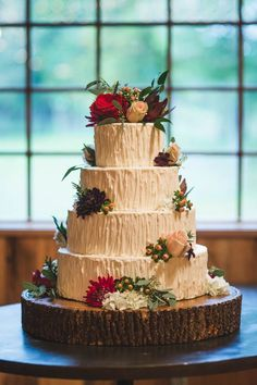 Four-tier nature-inspired cake | image by Fete Photography