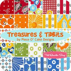 """Treasures & Tidbits- LOVE this fabric!!!  This says RAINBOWS!  I would make a fun """"LOVE"""" quilt out of these in memory of Aimee.  <3"""