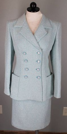 Emanuel Ungaro Paris Aqua Blue Boucle Wool Tweed Suit Jacket Skirt Size 8 #EmanuelUngaro #SkirtSuit