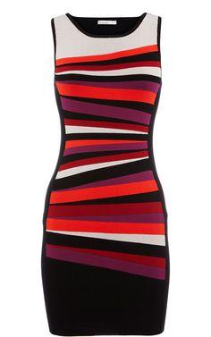 Karen Millen Panelled stripe bodycon Dress Multi ,fashion karen millen outlet