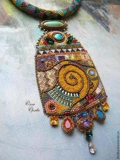 "Buy Pendant ""By Klimt"". Bead Embroidery Jewelry, Textile Jewelry, Fabric Jewelry, Beaded Embroidery, Jewellery, Beaded Jewelry Designs, Beaded Brooch, Bijoux Diy, Beads And Wire"