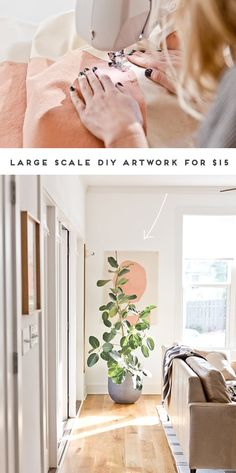 How to Create Large Scale Artwork for Under $15. Click through for the full tutorial on this sewn canvas piece of art. #art #diy #diyart #artwork #abstractart #largescaleart #livingroom #homedecor #ficusaudrey Luxury Home Decor, Cheap Home Decor, Diy Home Decor, Art Diy, Diy Wall Art, Hanging Wall Organizer, Grand Art Mural, Meme Design, Large Scale Art