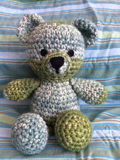 Crochet green Teddy Bear. Tutorial from Sharon Ojala at Amigurumi to Go.