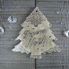 Décoration de noël sapin céramique beige petites étoiles shabby de Rouge Petit Coeur