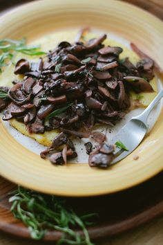 Stewed Mushrooms + Polenta - A Thought For Food