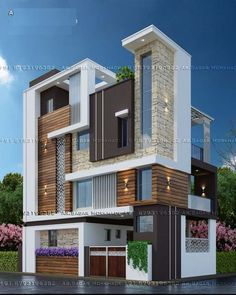 Lovely Home Exteriors Design Ideas House Outer Design, Unique House Design, House Front Design, Modern Villa Design, Modern Exterior House Designs, Exterior Design, 3 Storey House Design, Bungalow House Design, Bungalow Exterior
