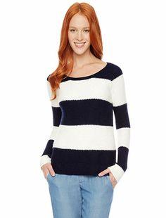 Splendid Official Store, Honeycomb Stripe Pullover, navy, Womens : Winter Sale : Tops, SE5580