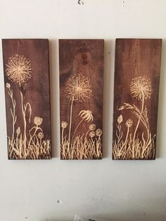 Three hanging wild flower carved wood and stained wood wall art 20 X 20 long X wide All carved individually Each order will be similar but unique because of the wood pieces. These Can easily be customized, feel free to email us Wood Burning Crafts, Wood Burning Patterns, Wood Burning Art, Wood Crafts, Carved Wood Wall Art, Wood Art, Art Carved, Wood Projects, Woodworking Projects