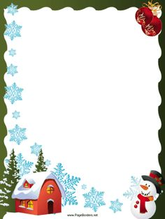 This free, festive, printable Christmas border is decorated with snowflakes, a snowman, red holiday ornaments and a cozy house. Free to download and print.