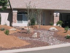 Xeriscape ideas - basic, I would cover the dirt with bark mulch to suppress weeds and retain moisture. River Rock Landscaping, Farmhouse Landscaping, Landscaping With Rocks, Outdoor Landscaping, Front Yard Landscaping, Outdoor Gardens, Outdoor Decor, Landscaping Ideas, Arizona Landscaping
