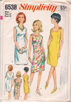 Simplicity 6538 Misses Slim Shift Dress Pattern vintage sewing pattern by mbchills Vintage Dress Patterns, Dress Sewing Patterns, Clothing Patterns, Vintage Dresses, Vintage Outfits, Vintage Fashion, 60s Dresses, 1960s Fashion, Fashion Sewing