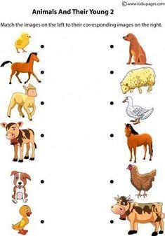 Animals and Their Young 2 worksheet Senses Activities, Farm Activities, Educational Activities For Kids, Animal Activities, Infant Activities, Preschool Jobs, Preschool Learning, Kindergarten Worksheets, Teaching Kids