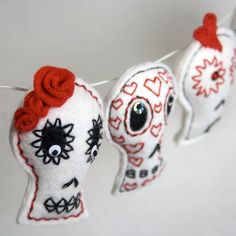 Sugar Skull Garland Bunting red and white Mexican by RawBoneStudio