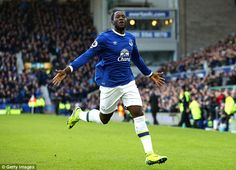Romelu Lukaku runs over to the Everton fans after scoring his fourth goal