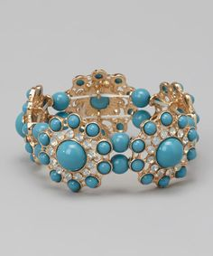 Take a look at this Turquoise Baroque Stretch Bracelet by Baubles on #zulily today!