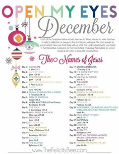 The Felicity Bee& December Scripture Writing plan is here. We are studying the Names of Jesus. Each of Jesus& names reveals a different character and aspect to who He is. Join us this Holiday as we study the True Gift and reason for season. Scripture Reading, Scripture Study, Scripture Writing Plan December, Scripture Journal, Bible Reading Plans, Advent Scripture, Bible Study Plans, Faith Scripture, The Words