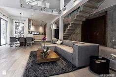Projekt wnętrz domu w Bukownie - Średni salon z kuchnią z jadalnią z tarasem / balkonem z antresolą, styl nowoczesny - zdjęcie od MONO architektura wnętrz Katowice