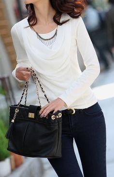 White Blouse | Beaded Chain Accent.  dresslily.com
