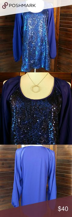"NWT American Glamour Badgley Mischka NWT Glamour Sequin front , split long sleeves top. American Glamour Badgley Mischka 20"" across chest lying flat, 29"" long Back 95% Polyester/5% Spandex All other is 100%Polyester. Badgley Mischka Tops Blouses"