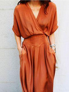 Surplice Plain Maxi #dresses #orange