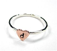 Heart ring with tiny monogram, stacking ring, stack ring, Initial Ring Sterling Silver and Copper. $15.00