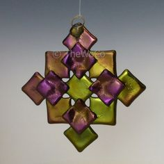 PRISM Warm Tones Black Iridized Snowflake Fused Glass by TheWoCo
