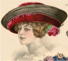 "1911 La Belle Epoque millinery fashions ""Canotier hat of black crinol braid 2"" wide and joined. The brim widens out on the left and is over laid with cherry red velvet"" Atelier Bachwitz international offices in Paris, London, Brussels, New York, and Vienna."