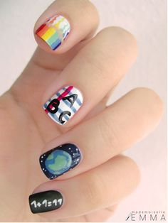 Back to school themed nail art