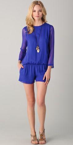 2ffa07e6cf6 Blue chiffon romper with long sleeves! Long Sleeve Chiffon Dress
