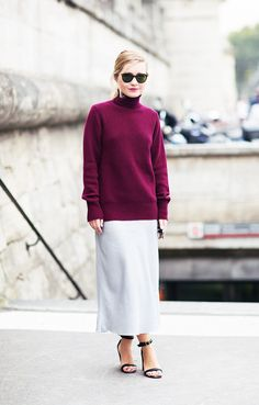 For an unexpectedly sexy duo, wear a jewel-toned turtleneck with a silk skirt and ankle-strap heels. // #StreetStyle