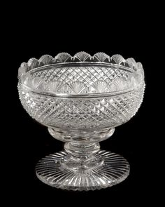 "Cut crystal footed bonbon dish, England late 19th century. Height 5"" Diameter 7"