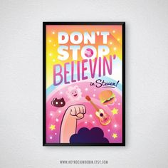 SALE Steven Universe Don't Stop Believing in Steven Crystal Gems... ($15) ❤ liked on Polyvore featuring home, home decor, wall art, comic book wall art, typography wall art, lion wall art, christmas posters and word wall art