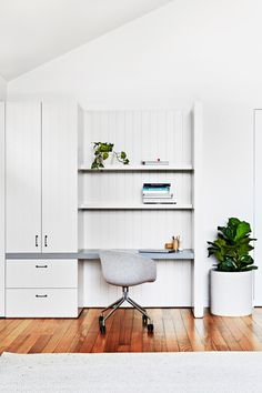 """The on-trend Devil's leaf and Fiddle-leaf fig plants are a lively presence in the stylish home office of this [light-filled Melbourne home](http://www.homestolove.com.au/interior-designer-terri-shannon-lights-up-melbourne-home-2854