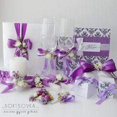 BORTSOVKA: Скрап № 259 Фиолетовые свадебные аксессуары- книга пожеланий на свадьбу, приглашения на свадьбу, свадебные бокалы, свечи для обряда семейный очаг
