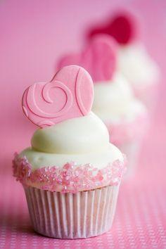 Embossed Pink Love Heart Cupcake